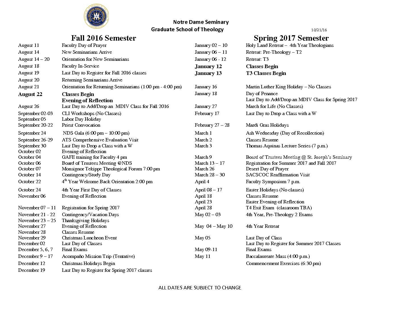 Academic Calendar Fall 2016 – Spring 2017 – Notre Dame Seminary
